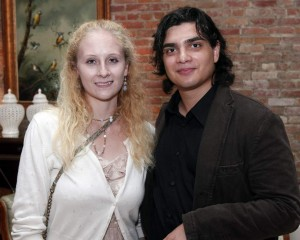 Alessandro Powell, a student of literature and writing at Tulane University, is a 2014 intern of the Pirate's Alley Faulkner Society.  He is shown here with Tulane student Hannah Strobel. Both were volunteers at the Society's Kick-off.
