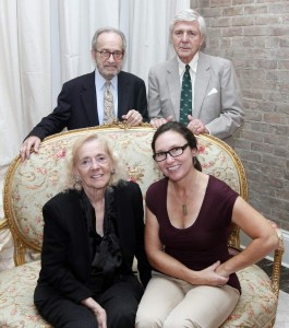 Faulkner Society Co-Founder Joseph J. DeSalvo, Jr. and Board Member Alex Sheshunoff are shown with literary guests of honor for the BIG READ Kick-off, Bonnie Warren, left, and Cheryl Gerber.
