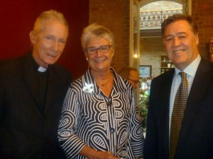 The Rev. William F. Maestri, author and Director of the Bishop Perry Center, a cultural center for downtown New Orleans neighborhoods and mission for the disadvantaged, a partner  in BIG READ, 2014. Father Maestri is shown with author and long-time Faulkner Society patron Carol Allen, President of Vieux Carre Property Owners and Associates, and author and journalist Jason Berry.