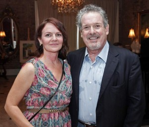 Randy Fertel, Ph.D., long time umbrella sponsor of the Faulkner Society's annual fall festival, Words & Music, is shown here with writer Kimberly Corbett at the Society's BIG READ, 2014 kick-off.